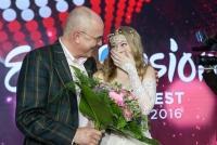 12.02.2016 |  ORF-Zentrum |  ORF, Vorentscheidung zum Eurovision Song Contest in Stockholm  <br>im Bild:<br> Edgar Böhm, ZOE Straub -Siegerin, fährt zum ESC 2016