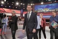 26.09.2019 |  ORF-Zentrum |  Nationalratswahl 2019 in &Ouml;sterreich<br>im Bild:<br> Sebastian Kurz -&Ouml;VP, Peter Pilz -JETZT, Beate Meinl-Reisinger -NEOS, Werner Kogler -GR&Uuml;NE, Claudia Reiterer, -im TV-Studio,