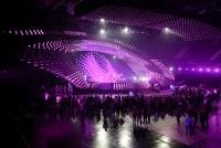 15.05.2015 |  Wiener Stadthalle/ Medienzentrum/Presse-Lounge |  veranstaltet v. EBU, ORF u. Stadt Wien<br>im Bild:<br> Eurovision Song Contest-Bühne 2015 -Totale, Übersicht, b. d. Proben z. 1. Semifinale