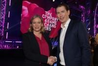 19.04.2018 |  Globe Wien | Start ups in Österreich<br>im Bild:<br>Corinna Milborn, BK Sebastian Kurz,