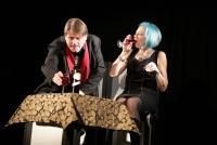 11.10.2018 |  Theater im Souterrain d. Cafe Prückel |  &#65279;Urauff&uuml;hrung des Schauspiels von Helmut Korherr<br>im Bild:<br> Christian Spatzek, Eva Billisich, -Szenen-Bilder,