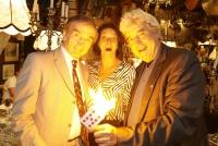 22.08.2019 |  Marchfelderhof/Deutsch-Wagram |  Welcome Dinner f&uuml;r European Magic Historie Conference<br>im Bild:<br> Magic Christian, Maya Hakvoort, Hanno Rhomberg -Magischer Ring Austria,